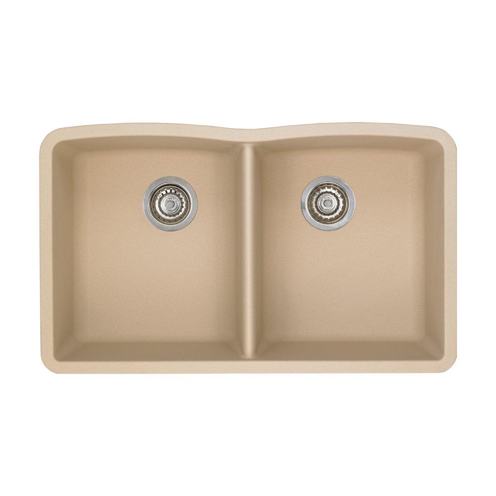 Blanco 441223 Diamond Equal Double Bowl Silgranit II Sink, Biscotti
