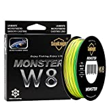 SeaKnight Monster W8 Braided Lines 8 Strands Weaves 500M/547Yards Super Smooth PE Braided Multifilament Fishing Lines for Sea Fishing Low-Vis Green 15LB