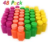 4E's Novelty Mini Neon Bubble Bottles Assortment, 48 Pack Wands connected to the Caps. Small Carnival Prizes for Kids Bulk, Great Summer Party Favors, Birthday Parties Supplies, Size: 1.75''