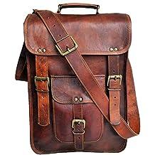 """15"""" Men's Genuine Leather messenger bag laptop case Vertical Satchel shoulder bag crossbody bag"""