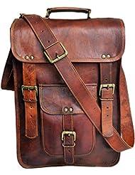 15 Mens Genuine Leather messenger bag laptop case Vertical Satchel shoulder bag distressed crossbody bag