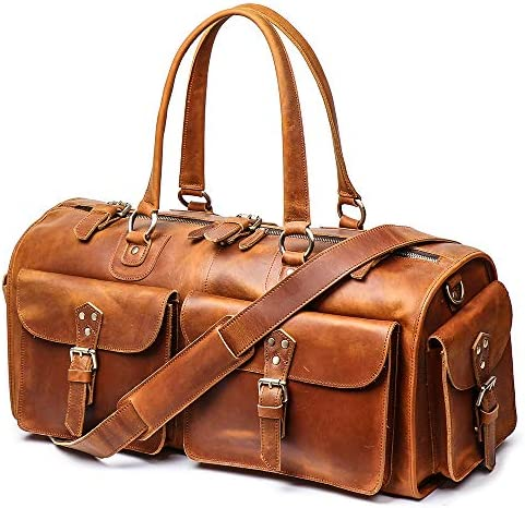 LeathFocus Leather Weekend Bag Mens Leather Travel Bag, 22 Full Grain Duffel Carry on Luggage Brown