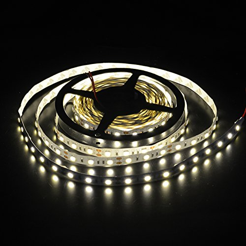 elcPark 5m 16.4ft Non-waterproof Warm White 3000K SMD5050 Flexible LED Strip Lights with Adhensive 300LED DC 12V 5A 60W