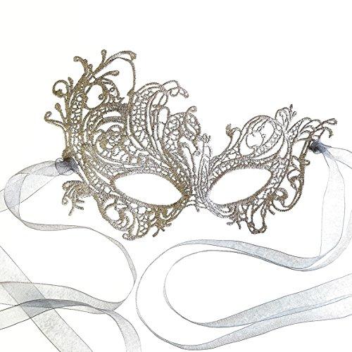 [Stunning Silver Renaissance Lace Masquerade Mask by Samantha Peach] (Princes Peach Costume)