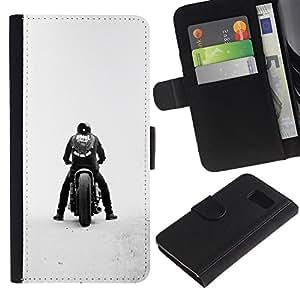 KLONGSHOP // Tirón de la caja Cartera de cuero con ranuras para tarjetas - Bobber de la motocicleta - Samsung Galaxy S6 //
