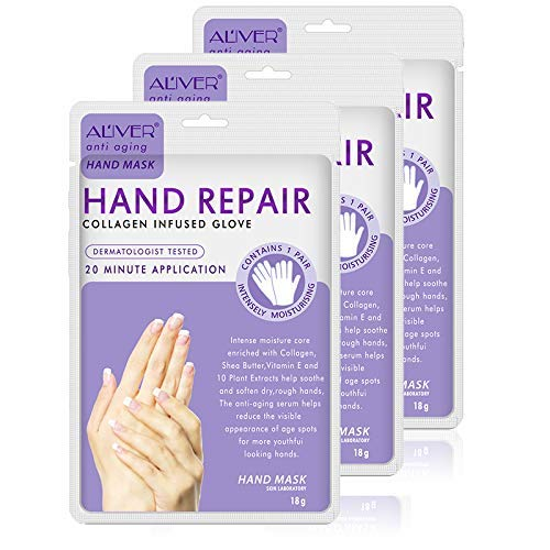 Hand Peel Mask 3 Pack, Spa Gloves Moisture Enhancing Gloves for Dry Hands, Exfoliating Hand Peeling Mask, Repair Rough Skin for Men Women