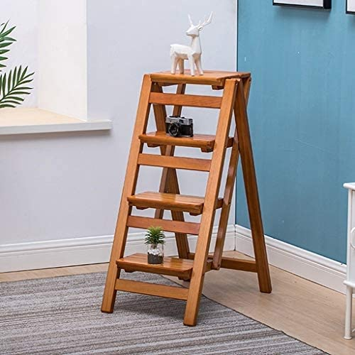 ZHZ-DT Folding Ladder Chair Rack for Library Kitchen Office - Wood Step Stool for Adults Multifunction Moveable 5 Steps Ladder Safety Non-slip, Walnut