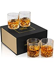 KANARS Whiskey Glasses - Set of 4 - Old Fashioned Cocktail Glass - Premium 300 ML Crystal Tumblers for Scotch, Whisky, Bourbon - Unique Gift for Men or Women
