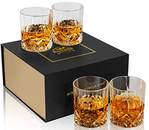 KANARS Old Fashioned Whiskey Glasses with Luxury Box – 10 Oz Rocks Barware For Scotch, Bourbon, Liquor and Cocktail…