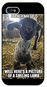 iPhone 4 / 4s Haing a bad day? Well here's a picture of a smiling lamb - black plastic case / Inspirational and motivational
