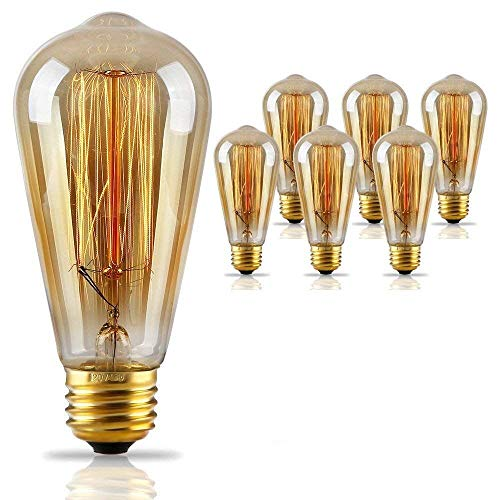 TORCHSTAR 6 Pack Antique Style ST64 (S21) Filament Vintage Light Bulb, Squirrel Cage Tungsten, Golden Tinted Glass, 2500K Sunrise White, E26 Base, Pendant, Chandelier, Lantern, Wall Scone