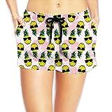 Louise Morrison Sunglasses Pineapple with Hawaii Flower Women's Boardshort Swim Trunks Beach Shorts