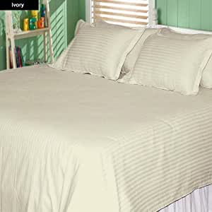 100% Egyptian Cotton 6 Piece Sheet Set Stripe Pattern 500 TC 23 Inch Deep Pocket ( Twin XXL , Ivory )