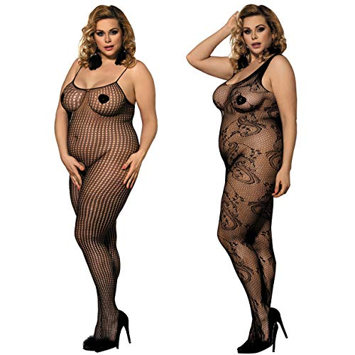 LOVELYBOBO 2 Pack Womens Plus Size Fishnet Bodystockings Striped Lingerie Crotchless Bodysuits Tights Suspenders -