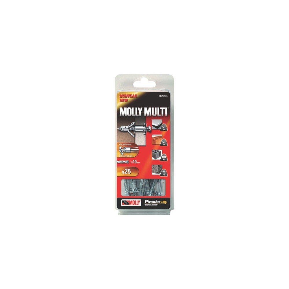 Gris Molly M101010-XJ Molly Multi Chevilles m/étal avec vis agglo Set de 10 Pi/èces