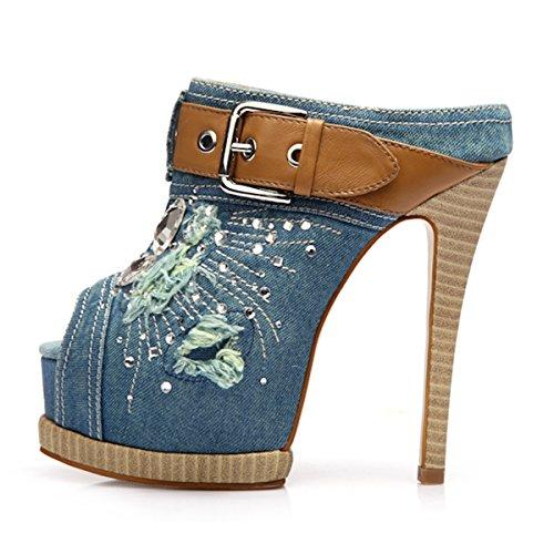 8603256b641 UMEXI Women Peep Toe Pearl Padded Platform Buckle Stiletto High Heel Pumps  Shoes chic
