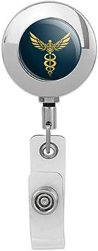 EMT RN MD Retractable Reel Chrome Badge ID Card Holder Medical Caduceus Symbol