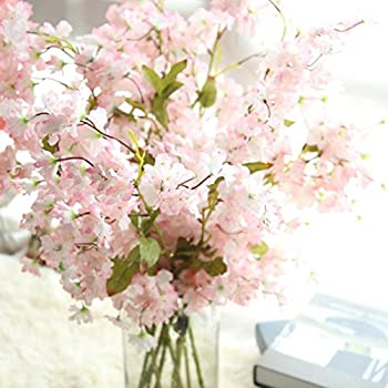 Artificial Silk Cherry Blossom Fake Flowers Cywulin Bridal Hydrangea Decor For Wedding Bouquet House Office Garden Inddor Outdoor B