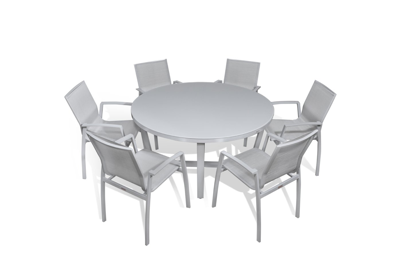 Amazon com outdoor patio furniture new aluminum gray frosted glass 7 piece round dining table wicker resin textilene sling stackable chairs set garden