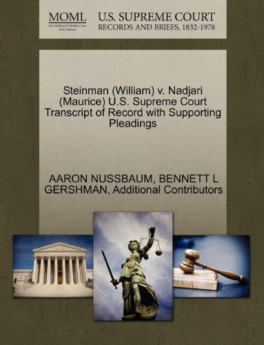 Steinman (William) v. Nadjari (Maurice) U.S. Supreme Court Transcript of Record with Supporting Pleadings