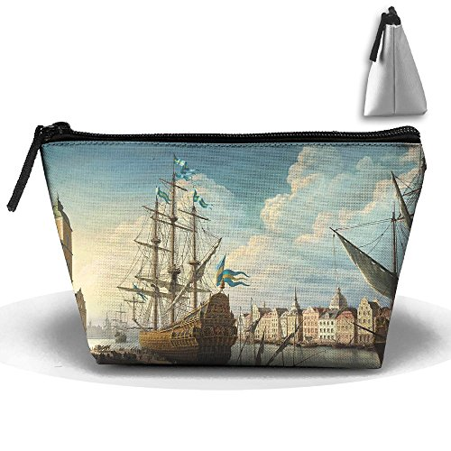 (Toiletry Pouch Makeup Bag 18th Century Ships Trapezoidal Portable Cosmetic Storage Travel)