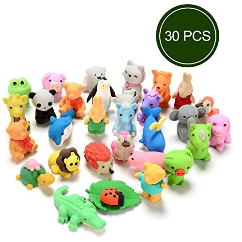 30Pcs Japanese Animal Erasers For Kids Assorted Set Adorable Cute Animals Toys Educational Gift Party Favors For Boys Girls Childrens