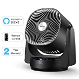 Geek Aire Fan, Air Circulator 3D Oscillating Floor Fan Works with Alexa and Google, High Velocity Stand Fan with 4 Speeds, 6h Timer, AI Mode, Whole Room Cooling Fan with App and Remote Control, Black