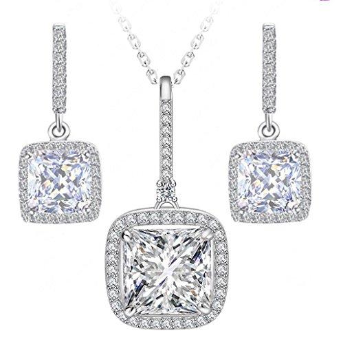 (Venetia Top Grade Princess Cushion Cut NSCD Simulated Diamond Dangle Earrings Pendant Necklace Set 925 Silver Platinum Plated)
