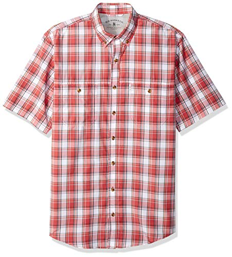 G.H. Bass & Co. Men's Big and Tall Explorer Short Sleeve Fishing Shirt Plaid Button Pocket, Cranberry-1, 4X-Large