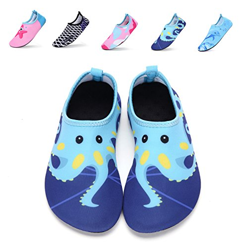 DKRUCAK Girls Boys Water Shoes Lightweight Quick-Dry Barefoot Aqua Socks Shoes For Lawn Pool Dance (11-11.5 M US Little Kid= 28-29 EU, Wuzei Blue)