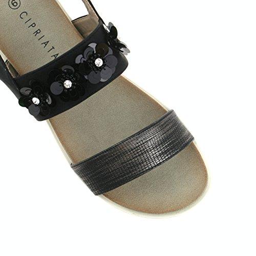 Shimmer Ladies L175 Sandals Buckle 4 EU CIPRIATA Stone Black UK 37 Black KD Flower InxTIqr