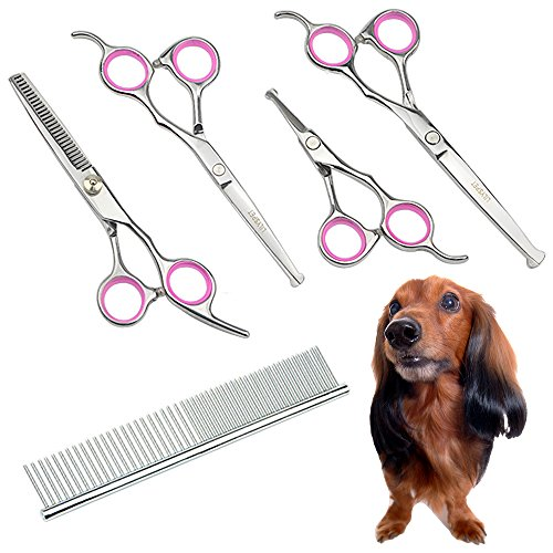 LILYS PET 5 PCS Round Tips Pet Grooming Scissors Kit For Dogs Cats Body Face Ear Nose Paw,6.5″ Straight Scissor,6.5″ Thinning Scissor,5.5″ Straight Scissor, 4.5″ Face Scissor and comb