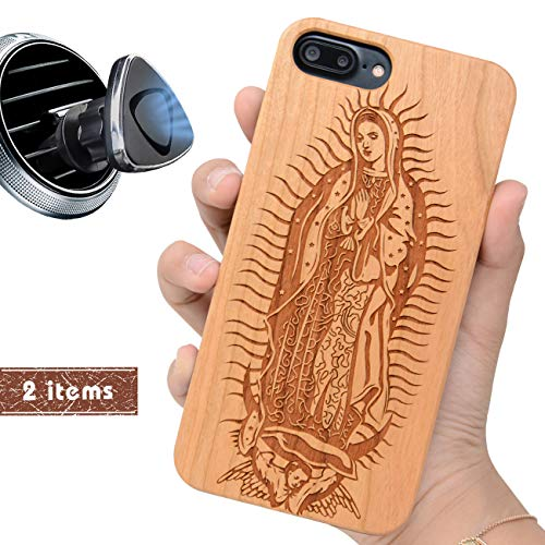 iProductsUS Wood Phone Case Compatible with iPhone 8 Plus, 7 Plus, 6 Plus, 6s Plus and Magnetic Mount, Engrave Our Lady Virgin Mary, Built-in Metal Plate, TPU Rubber Protective Cover (5.5 inch)