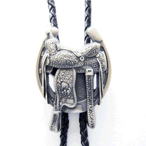 Silver Saddle Horse Shoe Western Bolo Tie