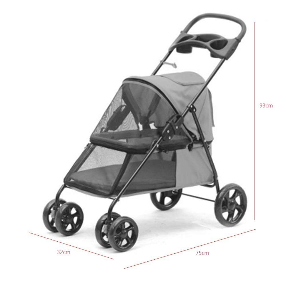 E TYT Dog Pull Cart, Light Pet Stroller Foldable Multi-function Four-wheeled Pet Stroller with Storage Bag Breathable Mesh Window and 2 Exit Light Dog Stroller Dog Wheelchair, Suitable for 15-55KG Pet