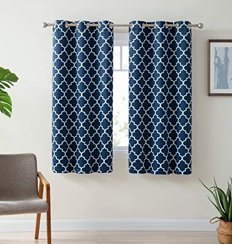 HLC.ME Lattice Print Thermal Insulated Room Darkening Blackout Window Curtain Panels for Living Room - Set of 2-37