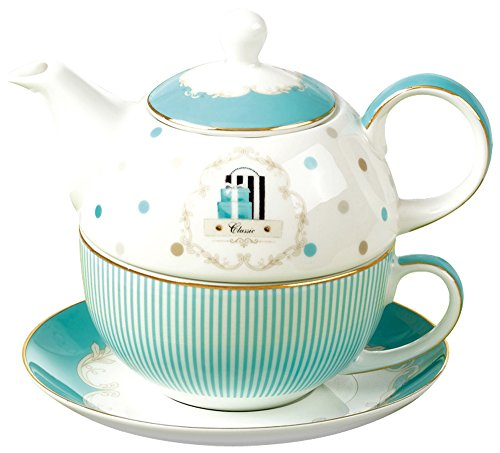 One Tea Set (Jusalpha Bone China Blue Teapot and Server Set for One, Teapot Cup and Saucer Set (Teapot Set 04))
