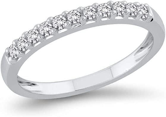 G-H,I2-I3 Diamond Wedding Band in Sterling Silver 1//10 cttw, Size-3.25