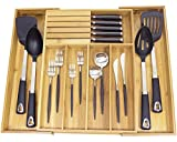 Misc Home [Deluxe] Expandable Bamboo Kitchen Drawer Organizer w/Built-in Solid Bamboo Knife Block 100% Eco Friendly Adjustable Bamboo Kitchen Utensil & Cutlery Tray. [Patent Pending Original Design]