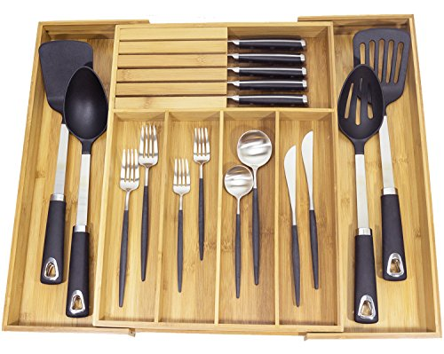 Expandable Bamboo Kitchen Drawer Organizer w/Built-in Solid Bamboo Knife Block 100% Eco Friendly Adjustable Bamboo Kitchen Utensil & Cutlery Tray.