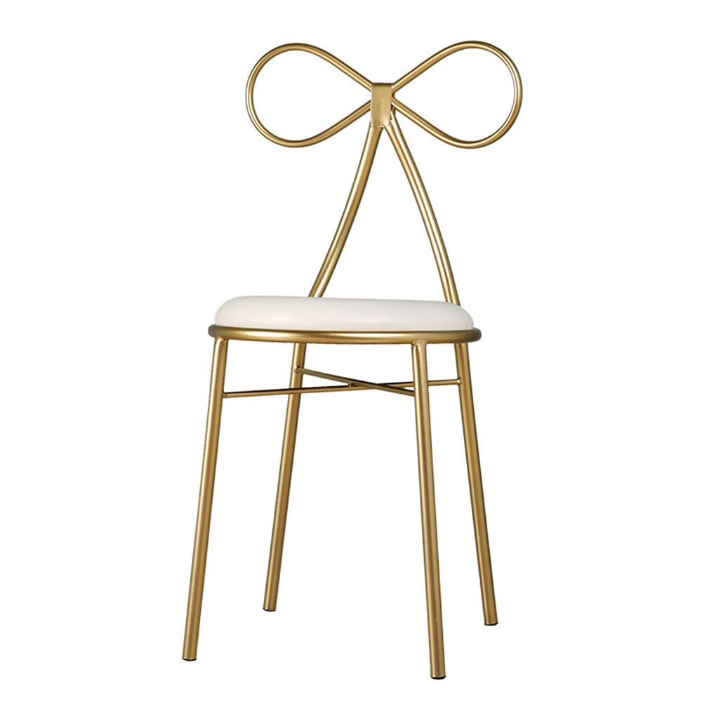 Nordic Fashion Wrought Iron Bow Princess Girl Dresser Chair Single Back Modern Minimalist Dressing Stool 40 * 40 * 80cm ER WO US