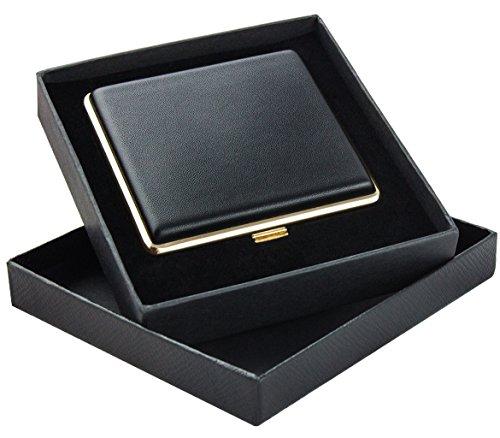 Zigarettenetui schwarz als Geschenkset für Raucher - Zigarettenetui Metall mit Öffnungsautomatik - Zigarettenetui Leder für 20 Zigaretten - Zigarettenbox - Zigarettendose