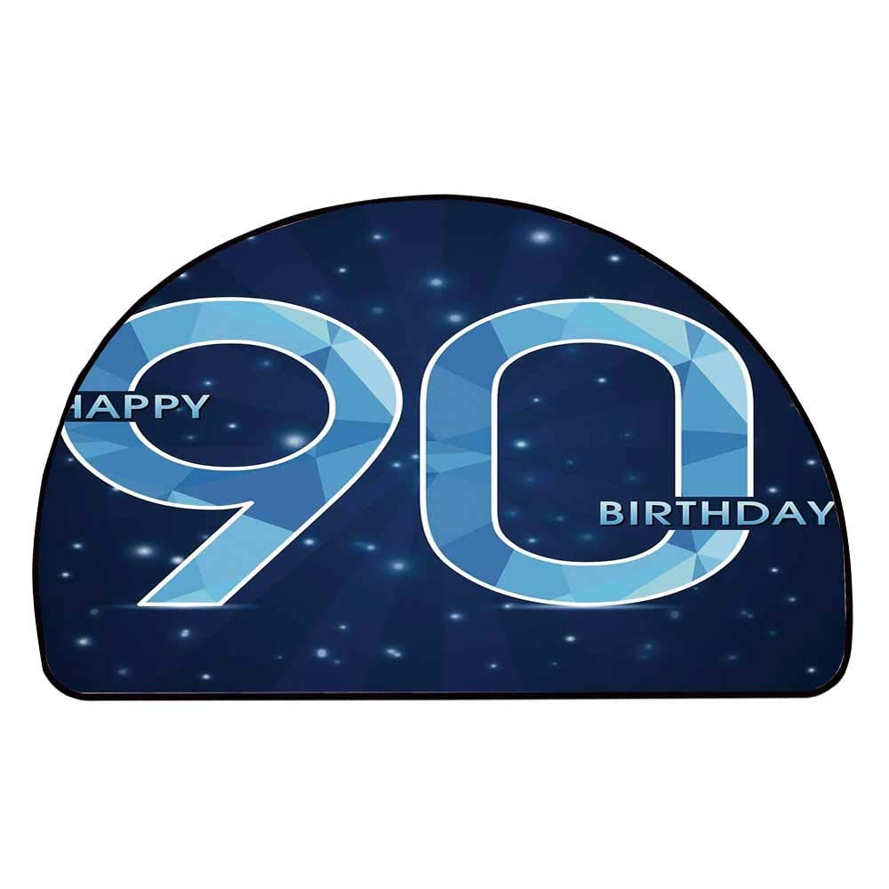 C COABALLA 90th Birthday Decorations Comfortable Semicircle Mat,Night Sky Inspired Backdrop Geometric Ninety Design for Living Room,11.8'' H x 23.6'' L