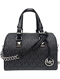Grayson Medium Chain Signature Satchel (Black with Silver Hardware)