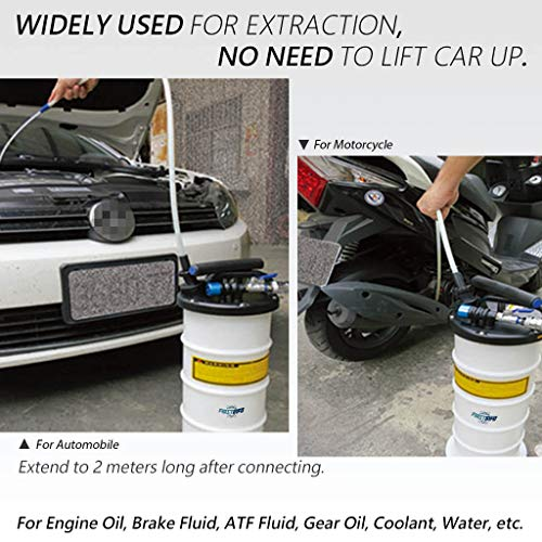 FIRSTINFO Made in Taiwan 9.5L Pneumatic and Manual Operation Oil or Fluid Extractor with 4 pcs Hoses by FIT TOOLS (Image #3)