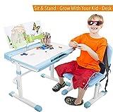 Conjunto de escritorio para niños - Mesa ajustable para niños y silla - ¡crece con su hijo! (Azul)