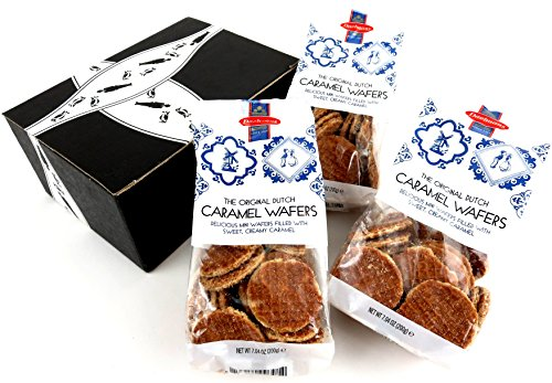 Daelmans Original Dutch Caramel Wafers, 7.04 oz Bags in a Gift Box (Pack of 3)