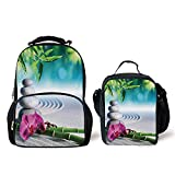 iPrint Schoolbags Lunch Bag,Spa Decor,Sand Orchid Massage Stones in Zen Garden Sunny Day Meditation, Bag