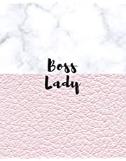 Boss Lady: Large Wide Ruled Notebook for Everyday Use White Marble and Faux Soft Pink Leather