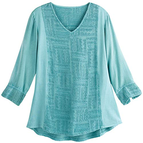 Parsley & Sage Women's Aztec Patterned Tunic Top - Soutache Embroidery V-Neck - Teal - Large (And Tops Sage Parsley)